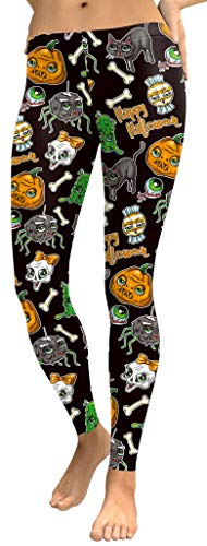 Halloween Women's Jack-o-Lanterns Funny Costume Pumpkin Stretchy Leggings XL