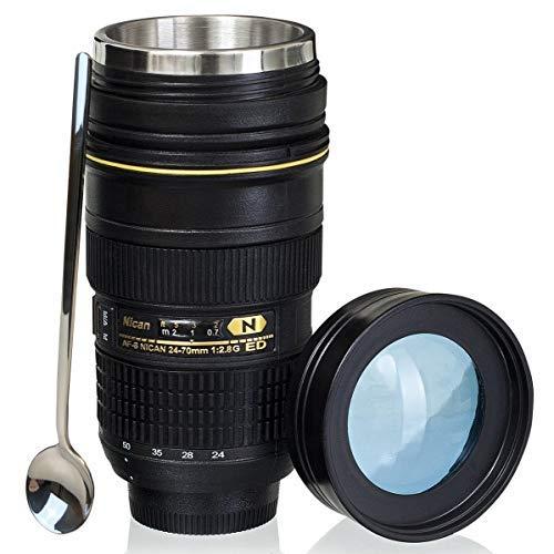 Camera Lens Coffee Mug With Cute Spoon,Photo Coffee Mugs Stainless Steel Travel Lens Mug Thermos Photographer Gift 16OZ TMANGO (Nikon 24-70mm) ()