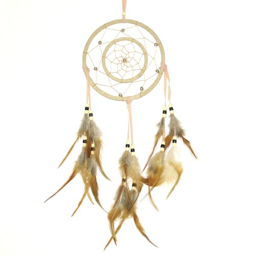 Double-Ring Earthtone Dreamcatcher, Light-Brown/Tan, Beads & Feathers, 20-inch ()