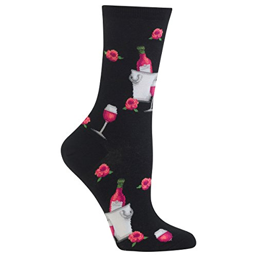 Hot Sox Women's Originals Fashion Crew Socks, Rose Wine (Black), Shoe Size 4-10/Sock Size 9-11