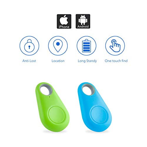 [2020 Updated] Key Finder, Bluetooth Tracker Phone Finder with Item Anti-Lost Locator Bidirectional Alarm Reminder for Phone, Keychain, Wallet, Luggage, Battery Replaceable (Blue & Green)