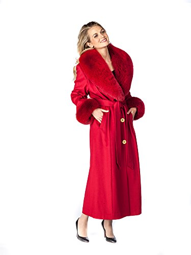 Madison Avenue Mall Womens Cashmere Coat With Fur Collar Real Fox Trim Red SZ - Malls Madison In