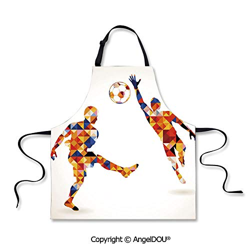 SCOXIXI Printed Unique Cool Kitchen Apron Abstract Decor with Football Soccer Players in Geometrical Colorful Shapes Print for Kitchen Men Women use. -