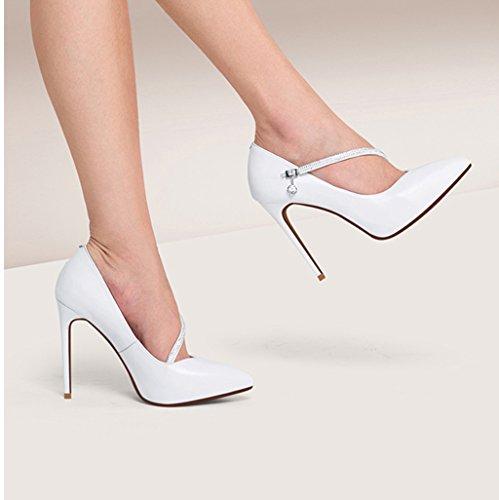 Boucle Strass Noires Chaussures Fine Blanc Pointues Femmes des Simples Avec Chaussures Talon Haut Parole 11cm Wysm wzagEqx8q