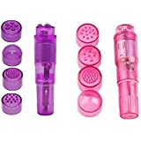 Pocket Rocket Mini Beauty Facial Massager Full Body Relax Toy 4 Heads (Purple Pink)