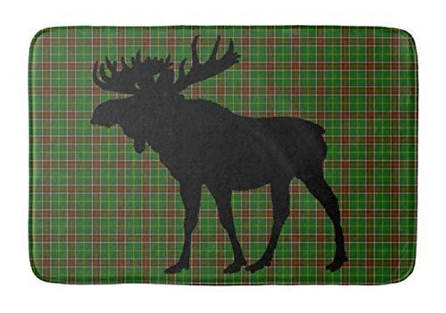 Newfoundland Tartan (Lovestand-Doormat Welcome Mat Indoor/Outdoor Bath Floor Rug Decor Art Print with Non Slip Backing 16X24 inch bathmat Green red Newfoundland Tartan Moose)