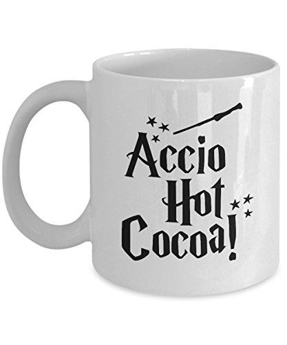 Accio Hot Cocoa - White Ceramic Cocoa Mug - Unique Funny Harry Potter Themed Fan Gift