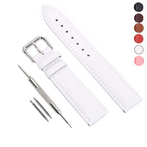 STYLELOVER Leather Watch Band, Genuine Cowhide Replacement Watch Strap for Men and Women 18mm White
