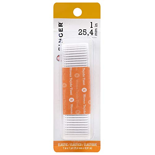 SINGER 71646 Woven Ribbed Non-Roll Elastic Blister Card, 1-Inch by 1-Yard, White - Non Roll Ribbed Elastic