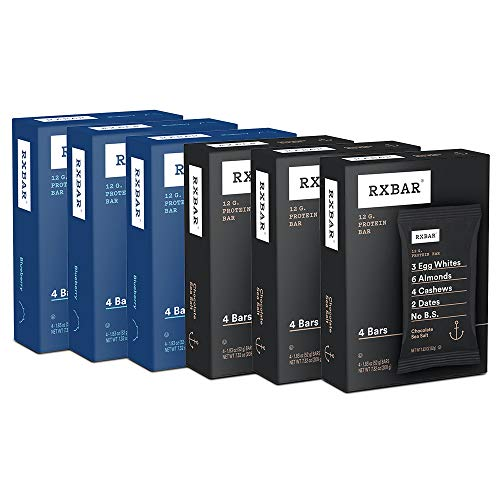 RXBAR Real Food Protein Bar, Chocolate Sea Salt and Blueberry Variety Pack, Gluten Free, 1.83oz Bars, 24 Count