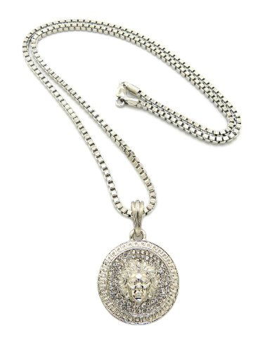 Silver Medusa Charm Necklace 24