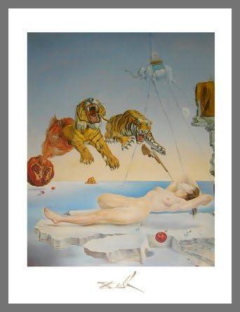 Salvador Dali Gala und die Tiger Poster Kunstdruck Bild im Alu Rahmen 80x60cm