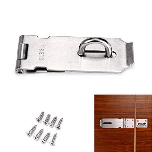 Door Metal Hasp (Sumnacon Safety Padlock Hasp Door Gate Clasp Lock, 4 Inch Stainless Steel Sturdy Gate Loop Latches With Screws For Furniture, Cabinet, Drawer, Cupboard and Closet Secure)