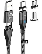 Magnetische USB-kabel met snel opladen type C 5 A/100 W - laptop tablet mobiele telefoon (6 combinaties) USB C naar USB C, micro-USB, iP - magnetische kabel type C - magnetische kabel Micro USB - oplader iman