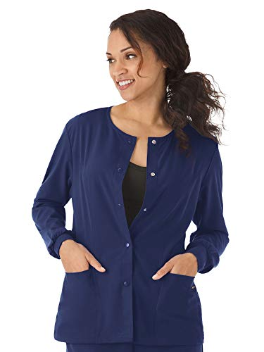 Jockey 2356 Women's Rounded Neckline Snap Scrub Jacket - Comfort Guaranteed New Navy S