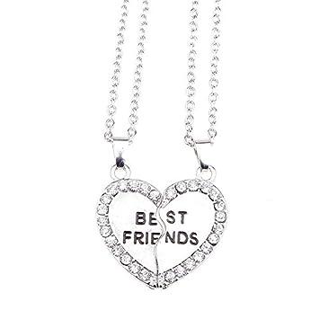 Calistouk 2pcs Mitad Amor Corazón Pareja Mejores amigos Collar de aleación Collar Amistad Regalo
