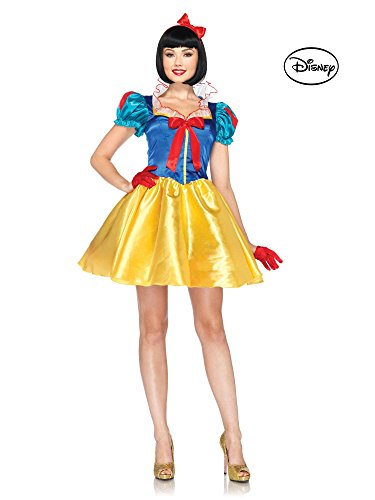 [Leg Avenue Disney 2Pc. Classic Snow White Costume Dress with Bow Head Piece, Blue/Yellow/White, Small/Medium (S/M,] (Halloween Disney Princess Costumes Adults)