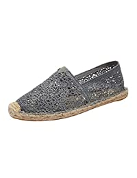 Jesper Women Comfortable Lace Flat Loafers Hollow Thin-Soled Casual Solid Breathable Slip On Shoes