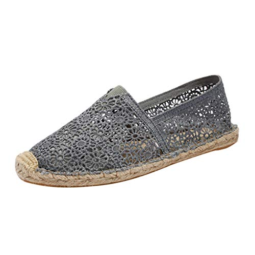 FAPIZI Espadrille Sneakers for Women, Hollow Canvas Casual Flats Classic Slip-On Comfortable Shoes Platform Lazy Shoes Gray