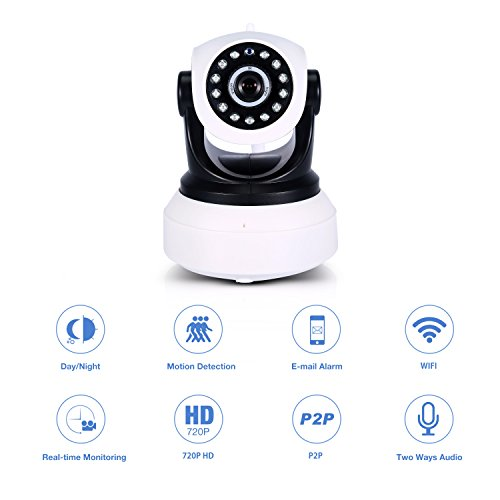 Wifi IP Camera, Anweer 720P HD Wireless Home Security Camera Dome Camera with Two-way Audio Night Vision Motion Detection (Hd Video Zoom Lens)
