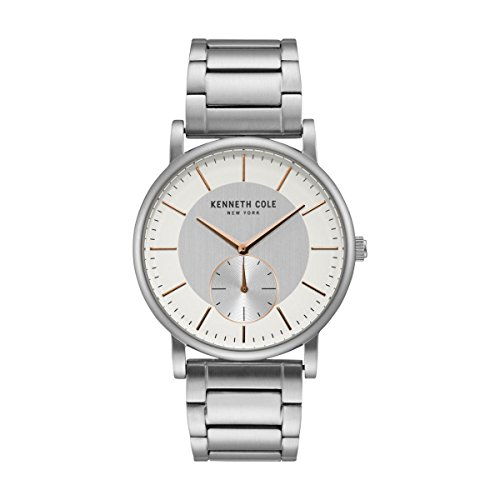 Kenneth Cole New York Men's Analog-Quartz Watch with Stainless-Steel Strap, Silver, 22 (Model: KC50066002)