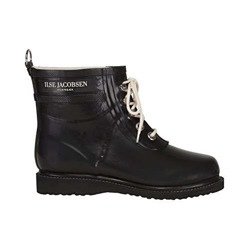 Ilse Jacobsen Rub2 Matte Black Rubber Ankle Rain Boots Shoes New by ILSE JACOBSEN