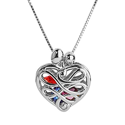 Loving Family Small Heart Locket with 12 Birthstones