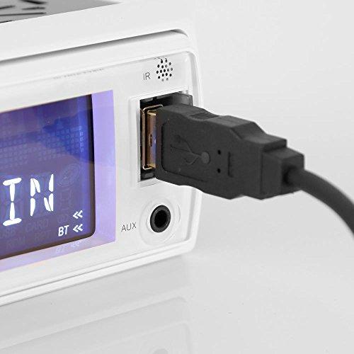 Marine Receiver & Speaker Kit - In-Dash LCD Digital Stereo Built-in Bluetooth & Microphone w/ AM FM Radio System 5.25'' Waterproof Speakers (2) MP3/USB/SD Readers & Remote Control - Pyle PLMRKT36WT
