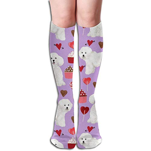 Women's Fancy Design Stocking Bichon Frise Valentines Day - Love Valentines Hearts Cupcakes - Lilac Multi Colorful Patterned Knee High Socks 50cm(19.6Inchs)