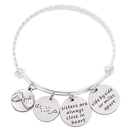 O.RIYA Sisters Bracelet Stainless Steel Adjustable - Side By Side Or Miles Apart(Side-by-side-bracelet)