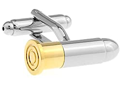 MRCUFF Bullet Round Tip 2 Two Tone Pair Cufflinks in a Presentation Gift Box & Polishing Cloth