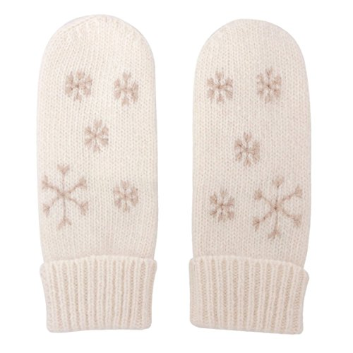 MATSU Women Lady's Wool Knit Mitten Winter Warm Snowflake Gloves Hand Warmer GCG203 (One Size, White)