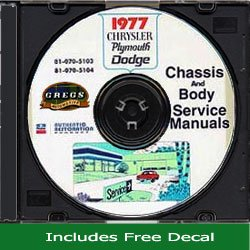 (1977 Chrysler, Plymouth and Dodge CD-ROM Repair Shop Manual)