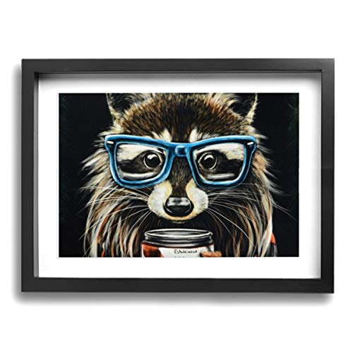 (Framed Modern Canvas Wall Art Raccoon Art Picture, Oil Painting Pictures Decor with Mat Ready to Hang for Home Kitchen Bathroom Office - 12 X 16 Inch)