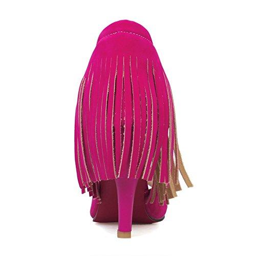 Mode Talon Femmes Peep Toe Talon Haut Frange Sandale Rouge