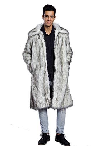 Old DIrd Men's Long Sleeve Fluffy Faux Fur Warm Coat Outerwear N02 Light Grey - Coat Fur Long