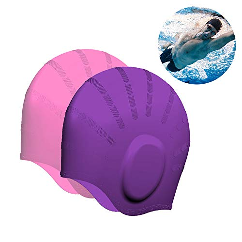 Swim Cap Waterproof Silicone 2 Pack Swimming Hat with Ear Guard 3D Ergonomic Design for Medium to Long Hair Wrinkle-Free Great for Youth Unisex Adult Men Women (Ear Protection Purple + Pink) ()