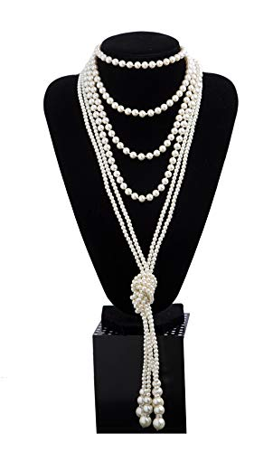 1920s Pearls Necklace Fashion Faux Pearls Gatsby Accessories Vintage Costume Jewelry Cream Long Necklace for Women (B-Knot Pearl Necklace2 + 59