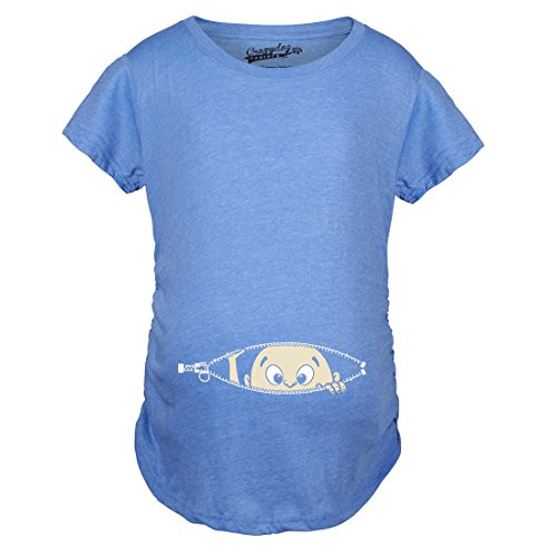 Maternity Baby Peeking Shirt Funny Pregnancy Cute Announcement Pregnant T shirts (Heather Blue) S