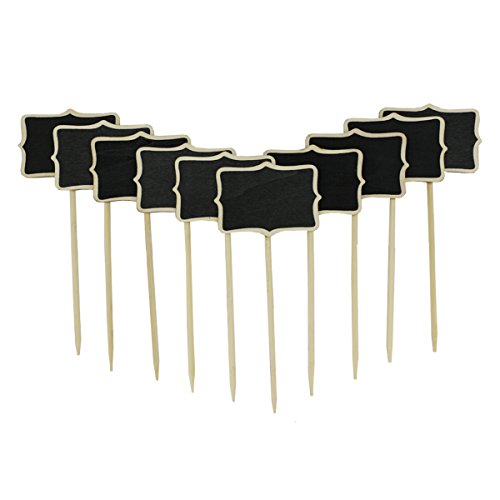 megrocle Mini Wood Chalk Board Blackboard Plant Tag on Stake, 2.38 3.38 Inch(10 Pieces) ()