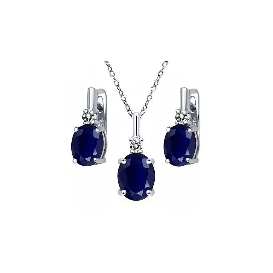 7.57 Ct Oval Blue Sapphire White Diamond 925 Sterling Silver Pendant Earrings Set