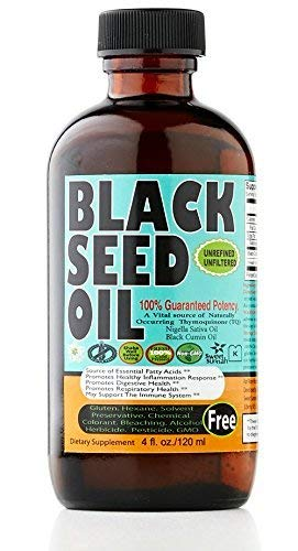 (Premium Black Seed Oil Liquid - 2.20%+ Thymoquinone Strong Pungent Flavor Cold Pressed Source of Omega 3 6 9 Black Cumin Seed Oil from 100% Genuine Nigella Sativa - 4 oz Glass Bottle by Sweet Sunnah)