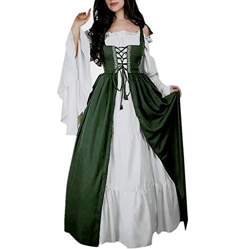 ♡QueenBB♡ Women's Floral Lace Up Vintage Dress Plus Size Trappy Corset Dress Gothic Halloween Clubwear Lace Skirt Deep Green]()