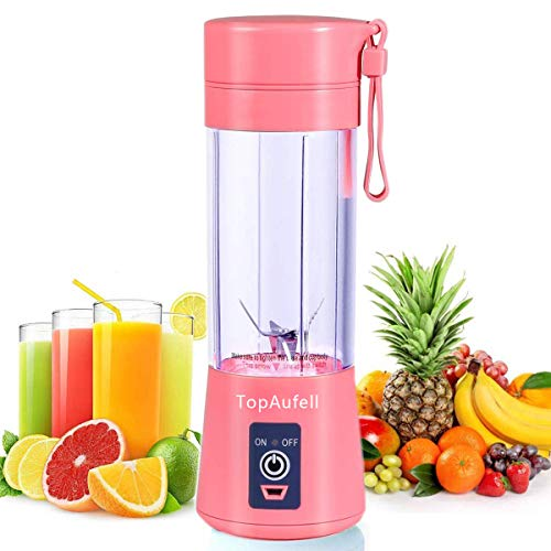 TopAufell Personal Blender, Portable Juicer Cup/Electric Fruit Mixer/USB Juice Blender, Rechargeable, Six Blades In 3D For Superb Mixing,380mL - (Pink)