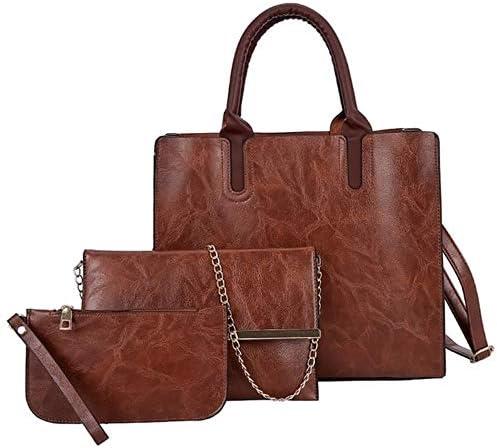 ZWQ Ledertasche Damen Handtasche Umhängetasche Umhängetasche Brieftasche Taschen für Frauen, Braun