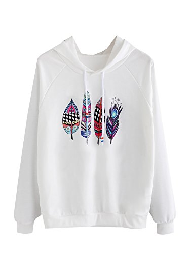 Romwe Women's Casual Floral Print Long Sleeve Pullover Tops Feather Print L (Sweatshirt Print)