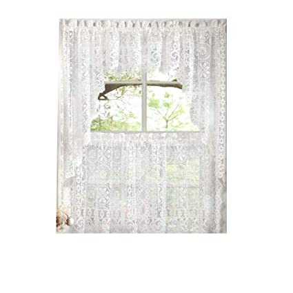 Hopewell Heavy White Lace Kitchen Curtain Choice of Tier Valance or Swag  (24\