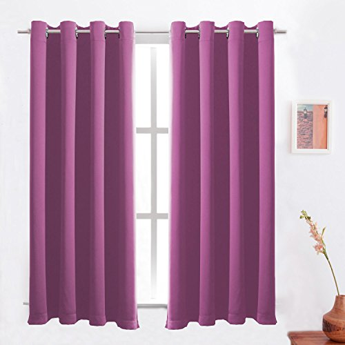Rose Pink Blackout Curtains Solid Thermal Insulated Panel Energy Efficient Light/Room Darkening Window Treatment Drapes 2 Panels Set for Living room/Bedroom/Girl's room 52