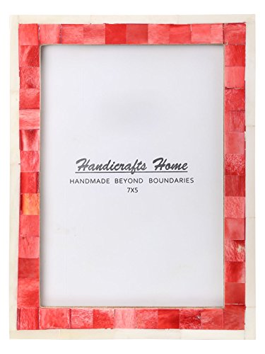 Handicrafts Home 5x7 Picture Photo Frame Mosaic Art Inspired Vintage Wall Décor Gift Frames [5x7 RED]