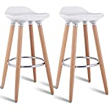 COSTWAY Barstools Modern Comfortable Armless Counter Height Bistro Pub Side Chairs Backless Stools with Wooden Legs for Home & Kitchen Set of 2 White